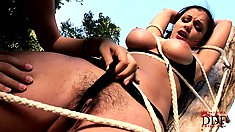 Busty slave gets tied to a tree before having her nipples teased