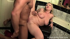 Slutty blonde mom, Vicky, gets nailed and squirts on the bathroom counter