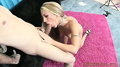 Kylie Wilde, a hot blonde girl with a perfect ass and adorable tits, sucks a big cock