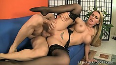 Blonde MILF Tanya Tate makes her lover bust between her hands