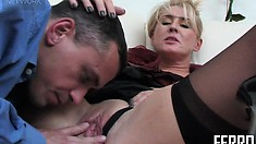 Horny blonde mom in sexy black stockings Bridget gets fucked hard by a young stud