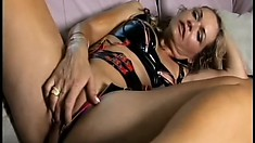 Curvy MILF in uber-sexy undies caresses herself into a squirting orgasm