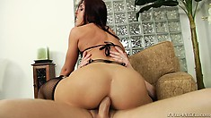 Slutty brunette with a tight ass blows and takes his ham-bone up her ass