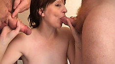 Wife is bored with her man and takes on two strange cocks to tap her