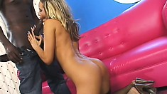 Euro blonde Aleska takes on a black bone and mouths it before fucking it