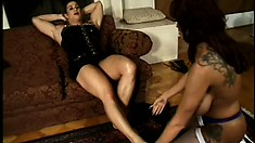 Fake tit Donita gets beat up by her tranny mistress and gets off on it