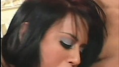 Busty Eva Angelina jumps on top of a hard dick and fucks it with desire