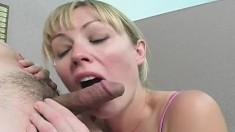 Horny nurse Adrianna Nicole drops her clothes and gives a deep blowjob