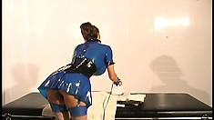 Awesome bitch in blue latex outfit is looking for sexual adventure