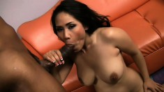 A thick black cock opens up Jessica Bangkok's shaven Asian snatch