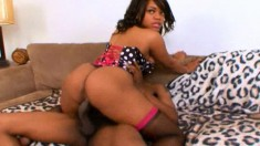 Sunset Pearl spreads her legs and a big black dick fills her wet cunt